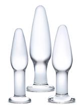 3-Piece Anal Plug Set - Glass